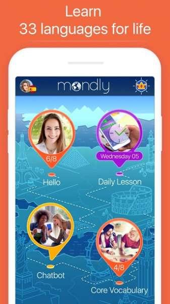 دانلود Mondly Learn 33 Languages Free 7.10.0 برنامه آموزش سریع زبان ماندلی اندروید