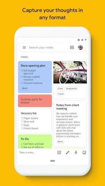 دانلود Google Keep 5.21.181.01 برنامه اندروید یادداشت برداری گوگل کیپ