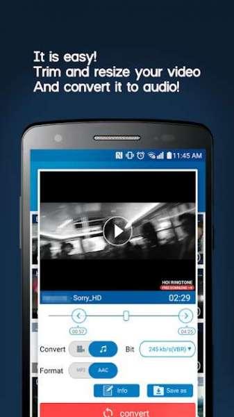 دانلود MP3 Video Converter 2.5.9+221 برنامه تبدیل فایل های تصویری به صوتی اندروید