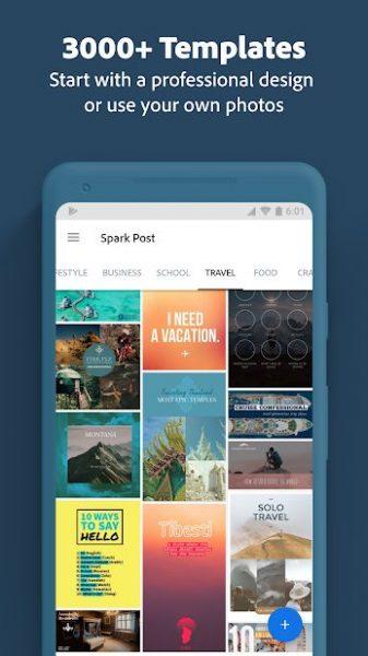 دانلود Adobe Spark Post: Graphic design made easy Premium 6.13.0 برنامه ایجاد طرحهای گرافیکی کارت پستال و پوستر اندروید