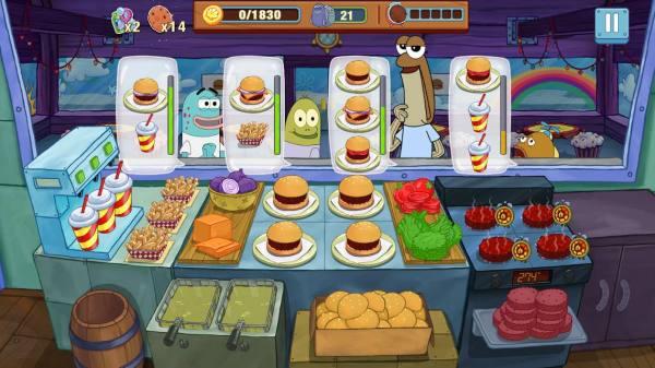 دانلود SpongeBob: Krusty Cook-Off 1.0.42 بازر سرگرم کننده آشپزی با باب اسفنجی اندروید + مود + تریلر