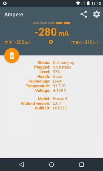 دانلود Ampere Full 3.45 برنامه اندازه گیری میزان شارژ و تخلیه باتری اندروید + مود