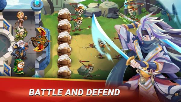دانلود Castle Defender: Hero Idle Defense TD 1.4.9 بازی استراتژیک قهرمانان مدافع از قلعه اندروید + مود